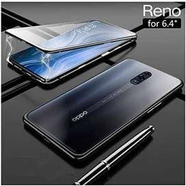 Luxury Magnetic Case Oppo Reno Metal Glass Back Cover Casing 2 in 1