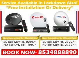 Summer Offer! Tata Sky DTH Dishtv Airtel Tv Or Tatasky SD/HD Box