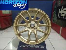 bisa credit velg racing KAMIKAZE 1087 FC HSR R15X65 H4x100 ET42 GOLD