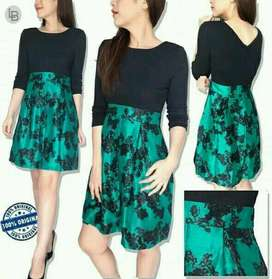 Black Crew Neck With Green Floral Dress
