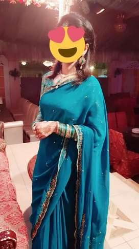 Saree Blue & green Available
