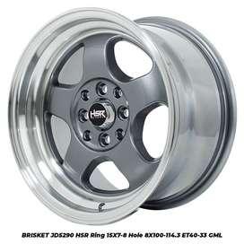 VELG RACING MURAH JD5290 HSR R15X7-8 H8X100-114,3 ET40-33 GREY-ML
