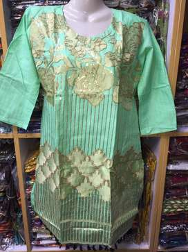 Embroidered Pure Linen and  Cotton Frocks Latest in WholeSale Rates