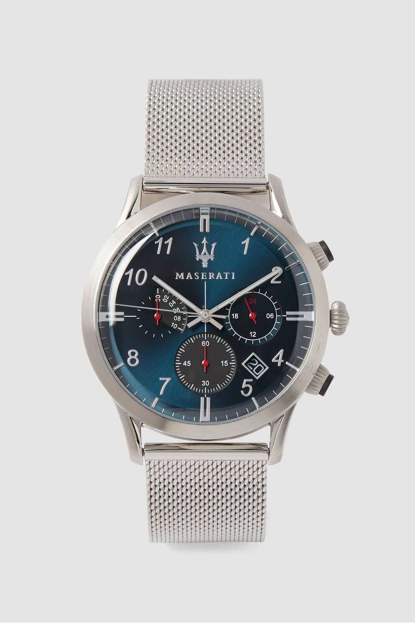 MASERATI Ricordo 42mm Blue Dial Stainless Steel Mesh Strap Watch 0