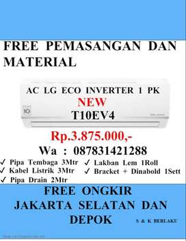 AC LG ECO INVERTER 1 PK T10EV4 FREE PEMASANGAN DAN MATERIAL