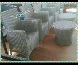 Teras chairs alumunim frame anyaman rotan free ongkir
