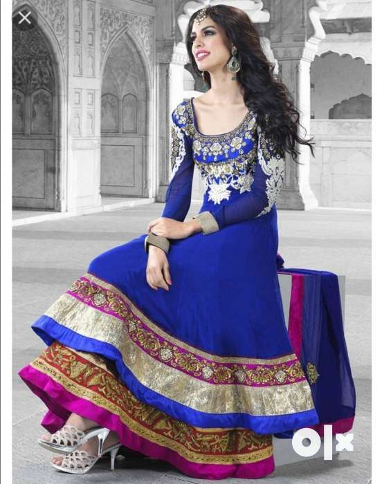 Royal Blue Anarkali Dress with Double Ghera of Vibrant Colours. 0