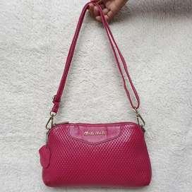 Sling bag pink kulit asli