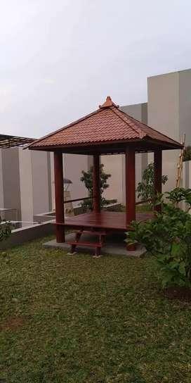 Saung Gazebo kayu kelapa ukuran 2x2m free ongkir dan pasang
