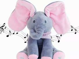 Boneka Gajah Cilukba & Nyanyi, Sing & Peek a Boo Elephant, ABU & Pink