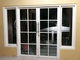 Partisi pintu kaca, jendela , Kusen aluminium kasa nyamuk