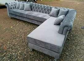 Sofa ruang tamu . bahan kayu mahoni + jati kain belutru  cat natural