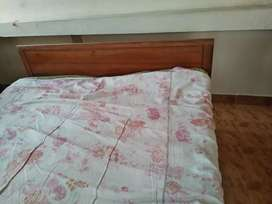 Teek wood cot with king size mattress