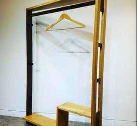 Lemari Gantungan Baju Semi Wardrobe Full Kayu Jati Belanda