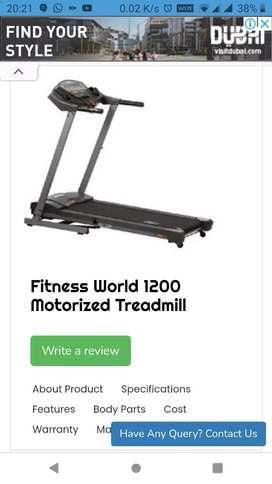 Motorized Treadmill Fitness world 1200