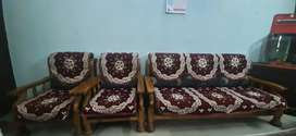5 seater wooden sofa set with sofa cover