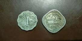 1 and 2 Anna Coins.
